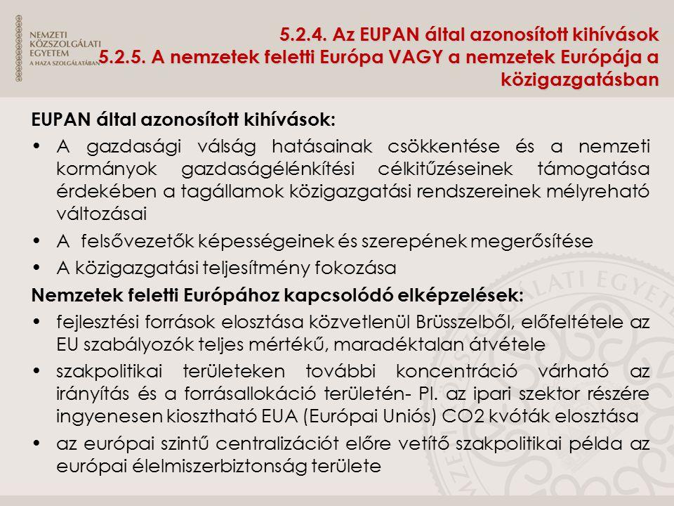 5.2.4. Az EUPAN által azonosított kihívások 5.2.5. A nemzetek feletti Európa VAGY a nemzetek Európája a közigazgatásban EUPAN által azonosított kihívá