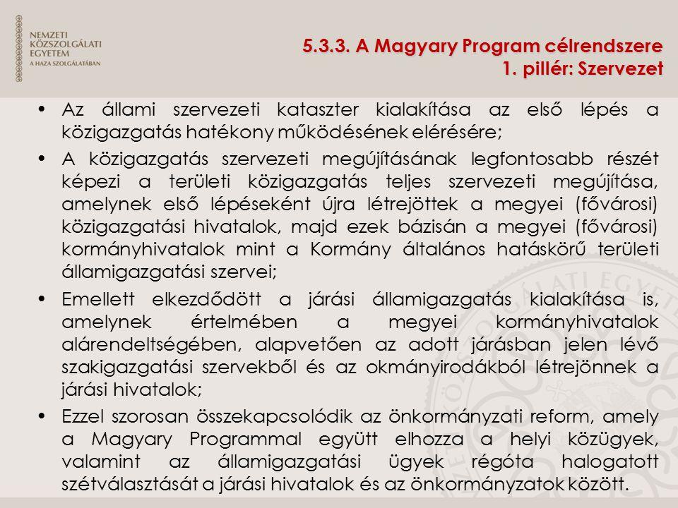 5.3.3. A Magyary Program célrendszere 1. pillér: Szervezet Az állami szervezeti kataszter kialakítása az első lépés a közigazgatás hatékony működéséne