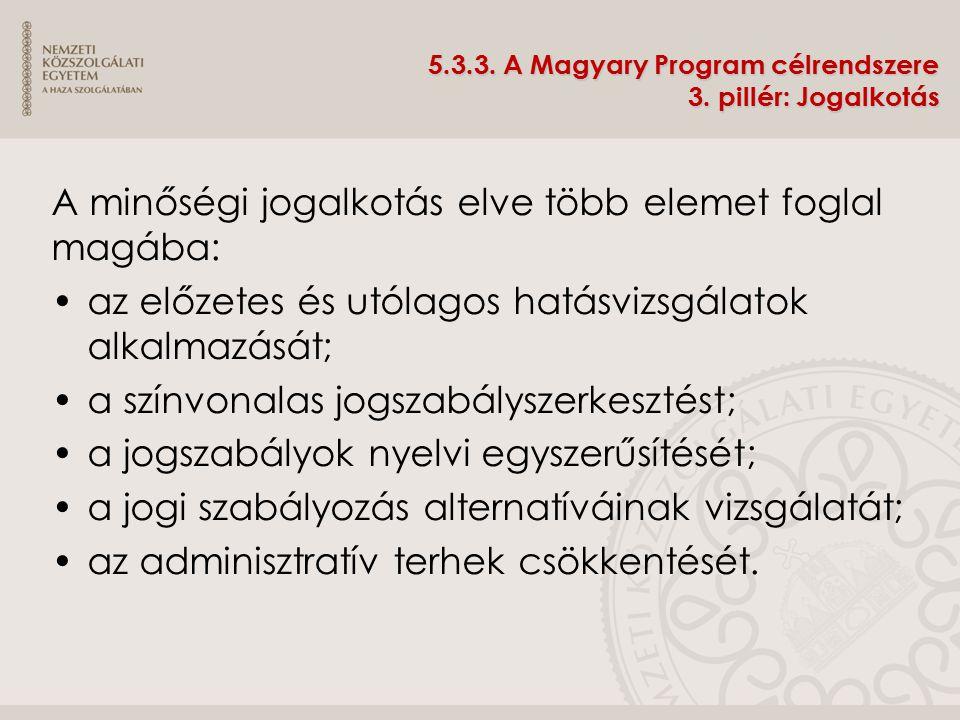 5.3.3. A Magyary Program célrendszere 3. pillér: Jogalkotás A minőségi jogalkotás elve több elemet foglal magába: az előzetes és utólagos hatásvizsgál