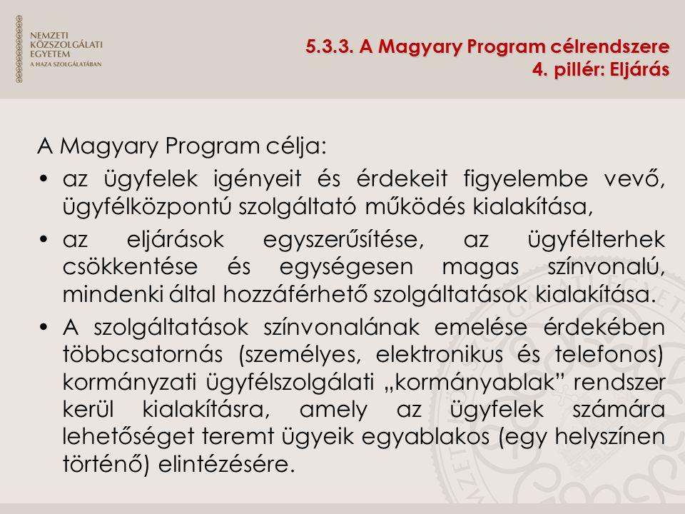 5.3.3. A Magyary Program célrendszere 4. pillér: Eljárás A Magyary Program célja: az ügyfelek igényeit és érdekeit figyelembe vevő, ügyfélközpontú szo