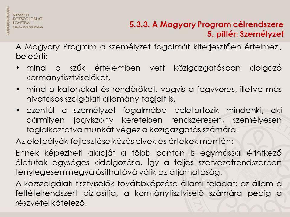 5.3.3. A Magyary Program célrendszere 5. pillér: Személyzet A Magyary Program a személyzet fogalmát kiterjesztően értelmezi, beleérti: mind a szűk ért