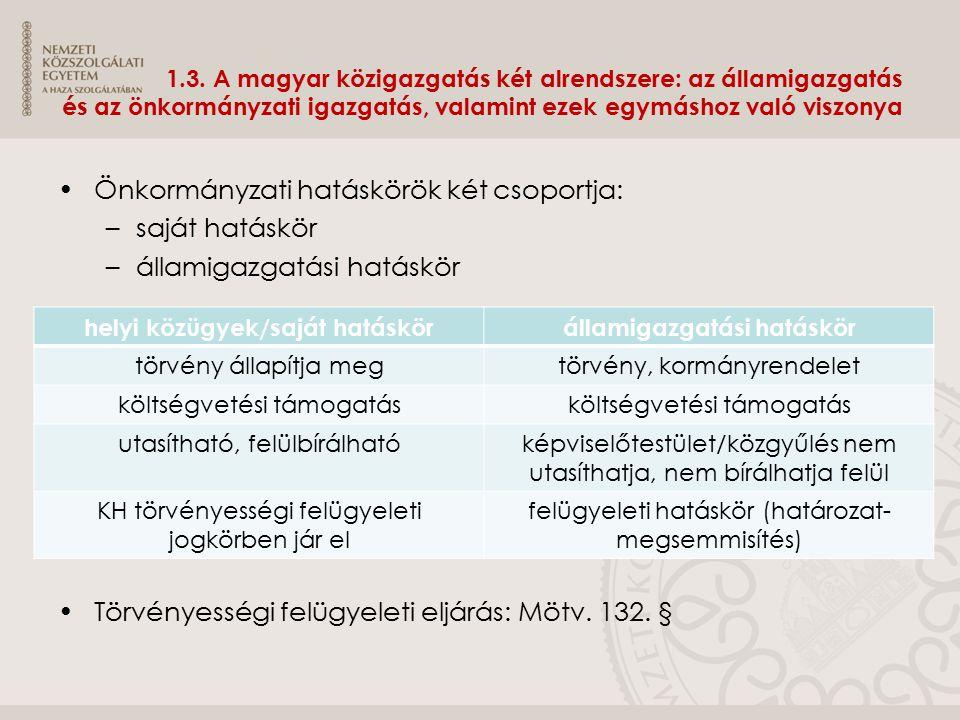 1.3. A magyar közigazgatás két alrendszere: az államigazgatás és az önkormányzati igazgatás, valamint ezek egymáshoz való viszonya Önkormányzati hatás