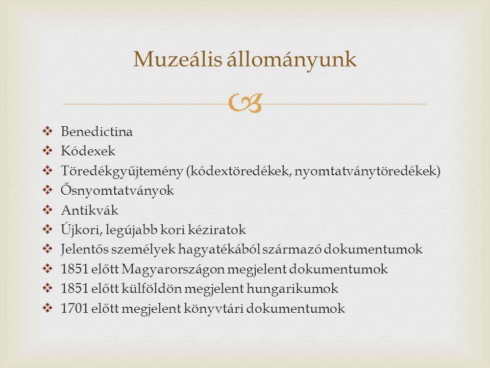   Benedictina  Kódexek  Töredékgyűjtemény (kódextöredékek, nyomtatványtöredékek)  Ősnyomtatványok  Antikvák  Újkori, legújabb kori kéziratok  Jelentős személyek hagyatékából származó dokumentumok  1851 előtt Magyarországon megjelent dokumentumok  1851 előtt külföldön megjelent hungarikumok  1701 előtt megjelent könyvtári dokumentumok Muzeális állományunk