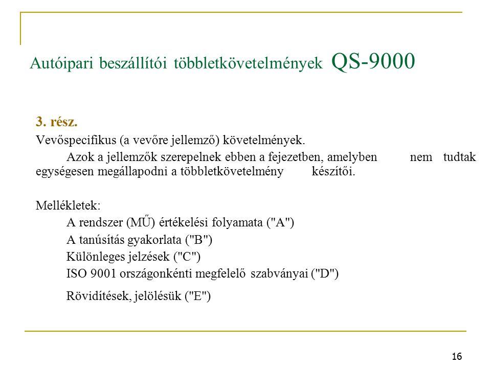 16 Autóipari beszállítói többletkövetelmények QS-9000 3.