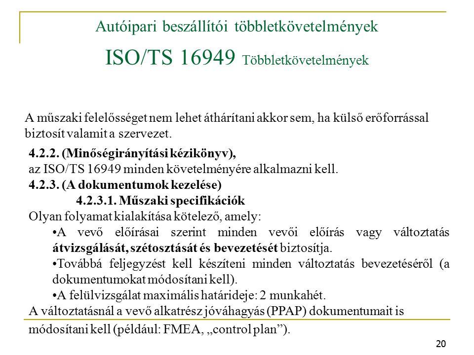 20 Autóipari beszállítói többletkövetelmények ISO/TS 16949 Többletkövetelmények A műszaki felelősséget nem lehet áthárítani akkor sem, ha külső erőforrással biztosít valamit a szervezet.