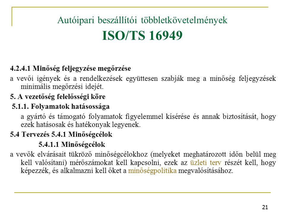 21 Autóipari beszállítói többletkövetelmények ISO/TS 16949 4.2.4.1 Minőség feljegyzése megőrzése a vevői igények és a rendelkezések együttesen szabják meg a minőség feljegyzések minimális megőrzési idejét.