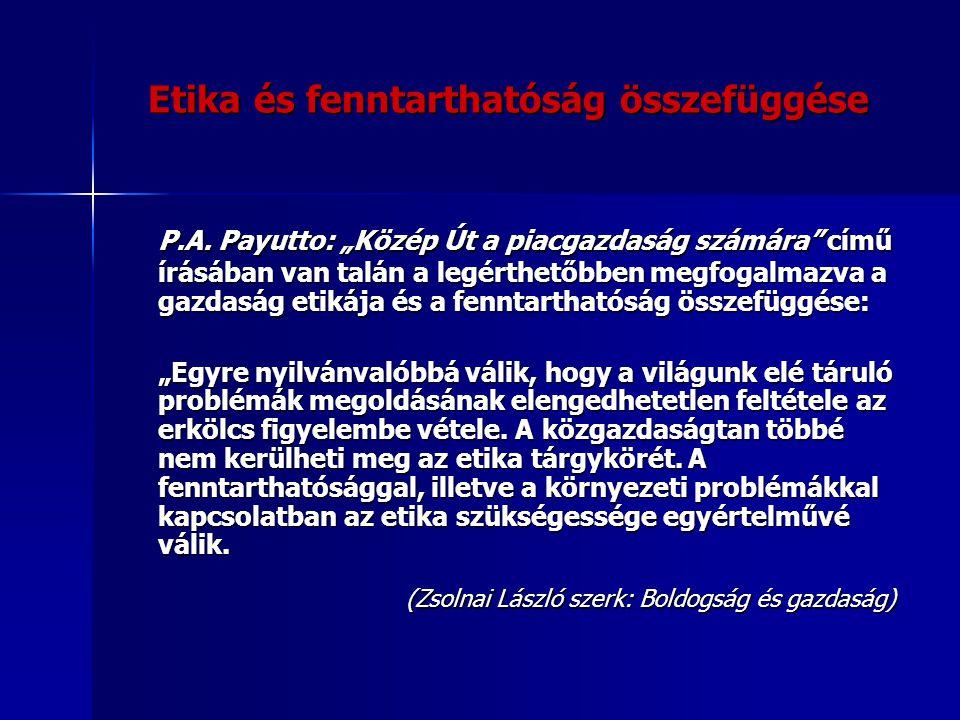 """Etika és fenntarthatóság összefüggése P.A. Payutto: """"Közép Út a piacgazdaság számára"""" című írásában van talán a legérthetőbben megfogalmazva a gazdasá"""