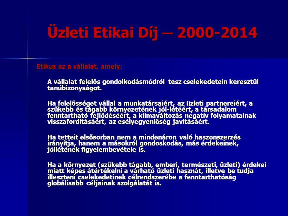 Üzleti Etikai Díj ─ 2000-2014 Etikus az a vállalat, amely: A vállalat felelős gondolkodásmódról tesz cselekedetein keresztül tanúbizonyságot. Ha felel