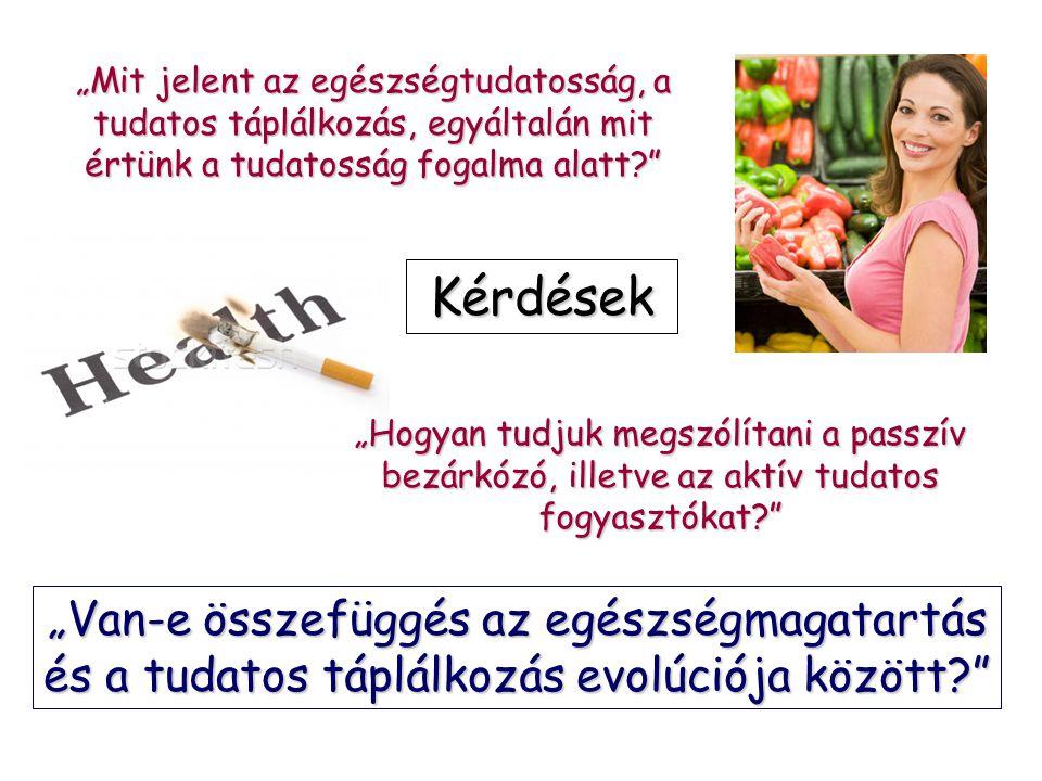 """""""Mit jelent az egészségtudatosság, a tudatos táplálkozás, egyáltalán mit értünk a tudatosság fogalma alatt? """"Van-e összefüggés az egészségmagatartás és a tudatos táplálkozás evolúciója között? Kérdések """"Hogyan tudjuk megszólítani a passzív bezárkózó, illetve az aktív tudatos fogyasztókat?"""