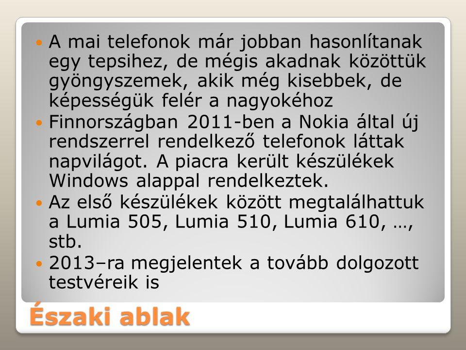 Északi ablak A mai telefonok már jobban hasonlítanak egy tepsihez, de mégis akadnak közöttük gyöngyszemek, akik még kisebbek, de képességük felér a nagyokéhoz Finnországban 2011-ben a Nokia által új rendszerrel rendelkező telefonok láttak napvilágot.