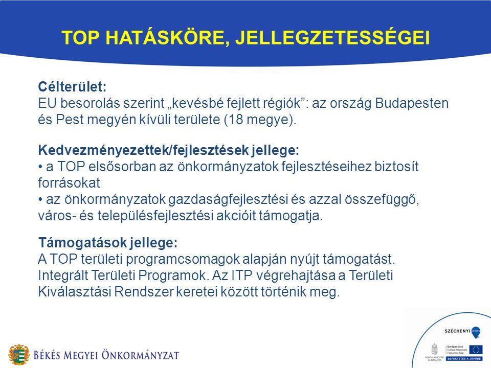 """TOP HATÁSKÖRE, JELLEGZETESSÉGEI Célterület: EU besorolás szerint """"kevésbé fejlett régiók : az ország Budapesten és Pest megyén kívüli területe (18 megye)."""