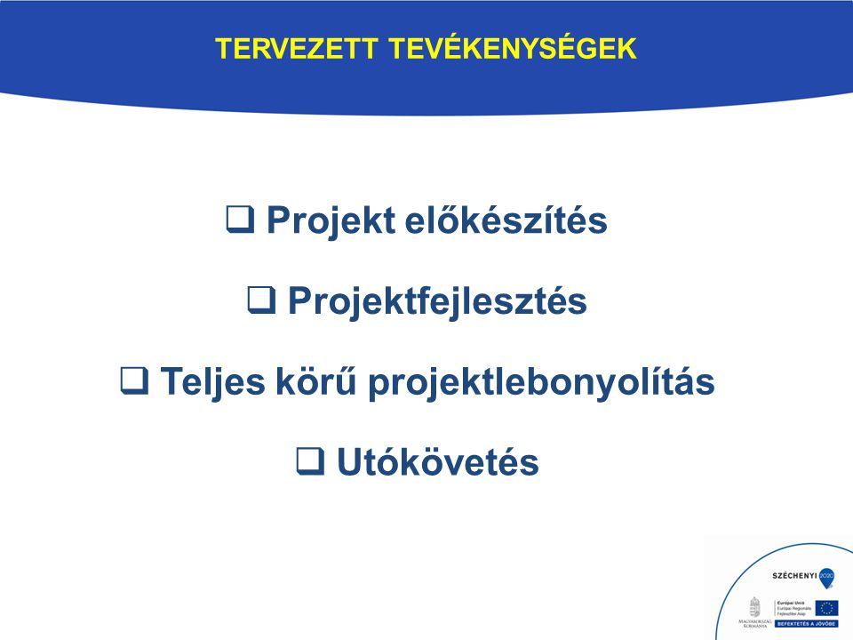 TERVEZETT TEVÉKENYSÉGEK  Projekt előkészítés  Projektfejlesztés  Teljes körű projektlebonyolítás  Utókövetés