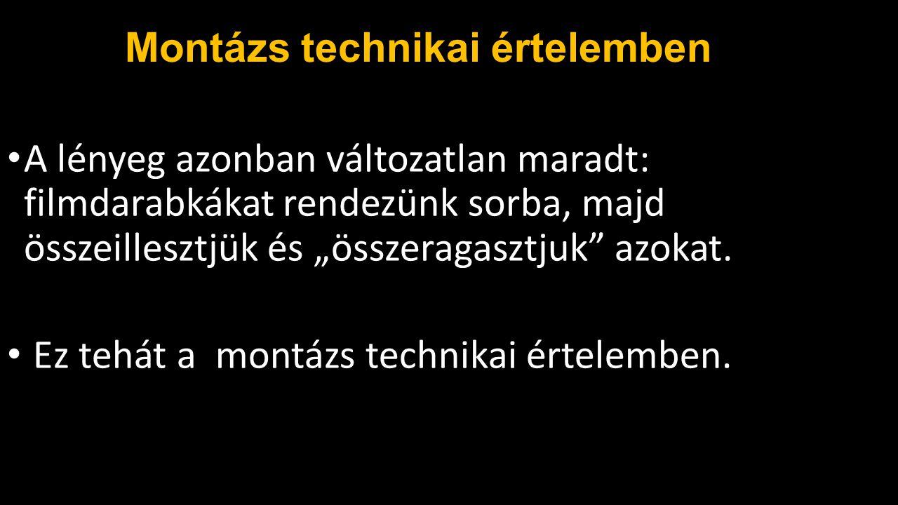 Szergej Eizenstein Montázselméletének alapgondolata az, hogy két elem összekapcsolásából nem összegük, hanem szorzatuk születik meg, azaz egy új minőség (1+1=3).