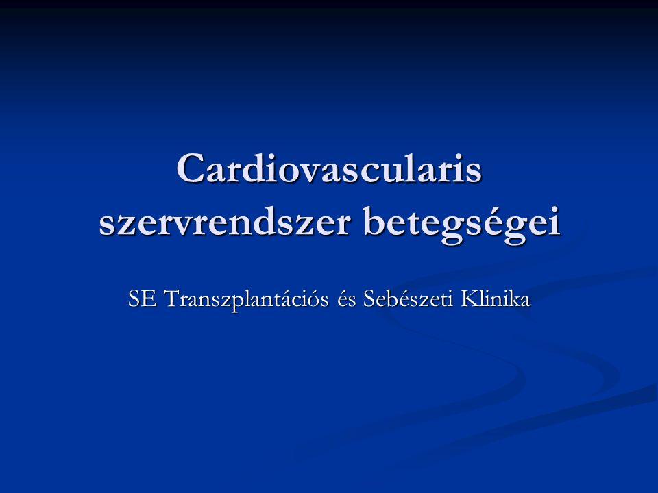 Cardiovascularis szervrendszer betegségei VérnyomásHgmmSzisztolés Diasztolés Optimális<120<80 Normális<130<85 MagasvérnyomásI.StádiumII.StádiumIII.stádium140-159160-179>18090-99100-109>110