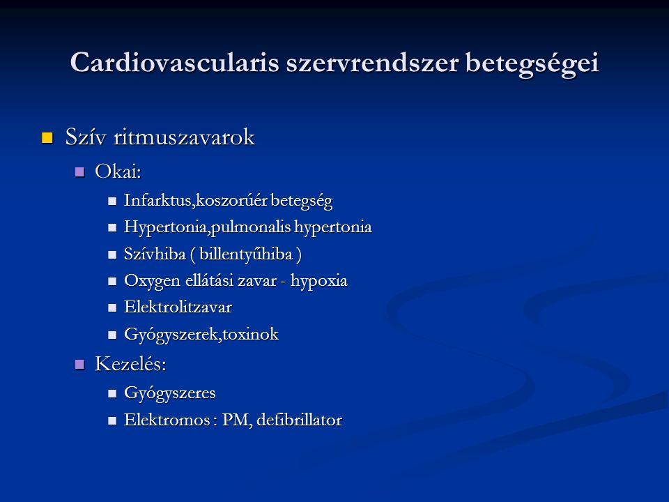 Cardiovascularis szervrendszer betegségei Szív ritmuszavarok Szív ritmuszavarok Okai: Okai: Infarktus,koszorúér betegség Infarktus,koszorúér betegség