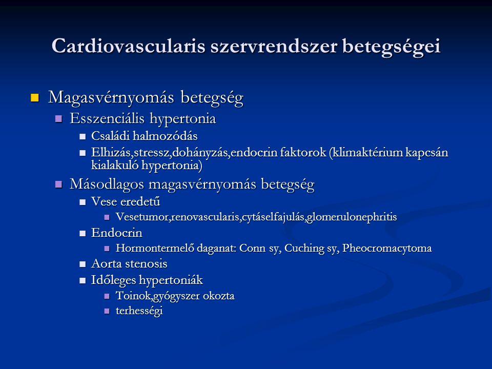 Cardiovascularis szervrendszer betegségei Magasvérnyomás betegség Magasvérnyomás betegség Esszenciális hypertonia Esszenciális hypertonia Családi halm