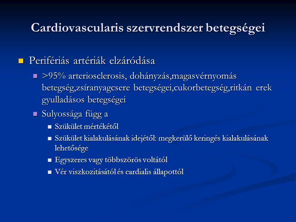 Cardiovascularis szervrendszer betegségei Perifériás artériák elzáródása Perifériás artériák elzáródása >95% arteriosclerosis, dohányzás,magasvérnyomá