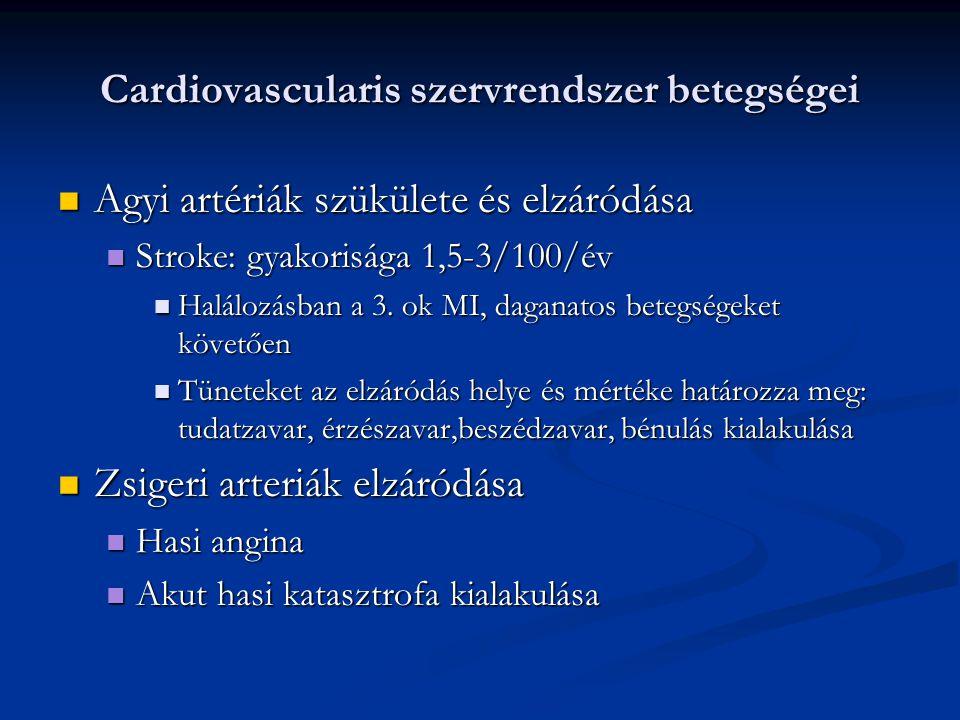 Cardiovascularis szervrendszer betegségei Agyi artériák szükülete és elzáródása Agyi artériák szükülete és elzáródása Stroke: gyakorisága 1,5-3/100/év