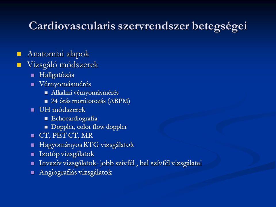 Cardiovascularis szervrendszer betegségei Sziv fejlődési rendellenességek Sziv fejlődési rendellenességek Élveszületések 1 %-ban jelentkezik, a 80 %-át a következő 8 szívhiba teszi ki: Élveszületések 1 %-ban jelentkezik, a 80 %-át a következő 8 szívhiba teszi ki: Kamrai szeptum defektus (30%) Kamrai szeptum defektus (30%) Pitvari szeptum defektus (10%) Pitvari szeptum defektus (10%) Ductus Botalli persistens (10%) Ductus Botalli persistens (10%) Aorta isthmus stenosis=coarctatio aortae (7%) Aorta isthmus stenosis=coarctatio aortae (7%) Pulmonalis stenosis (7%) Pulmonalis stenosis (7%) Fallot tetralogia (6%) Fallot tetralogia (6%) Pulmonalis stenosis Pulmonalis stenosis Kamrai szeptum defectus Kamrai szeptum defectus Lovagló aorta a septum defectus felett Lovagló aorta a septum defectus felett Jobb kamra hypertrophia Jobb kamra hypertrophia Ao stenosis (6%) Ao stenosis (6%) Nagyér transpositio (4%) Nagyér transpositio (4%)