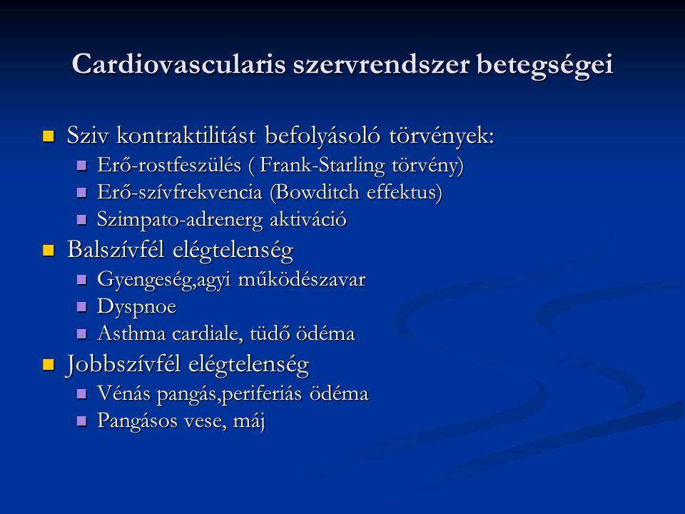 Cardiovascularis szervrendszer betegségei Kezelése Kezelése Oki kezelése a prevencio: Oki kezelése a prevencio: Hypertonia beállítása,cukorbetegség kezelése,dohányzás abbahagyása Hypertonia beállítása,cukorbetegség kezelése,dohányzás abbahagyása Tüneti kezelése: Tüneti kezelése: Gyógyszeres kezelés, fiziotherapia,revascularisatio:sebészi bypass,kialakult szövődményes fertőzés kezelése,amputatio Gyógyszeres kezelés, fiziotherapia,revascularisatio:sebészi bypass,kialakult szövődményes fertőzés kezelése,amputatio