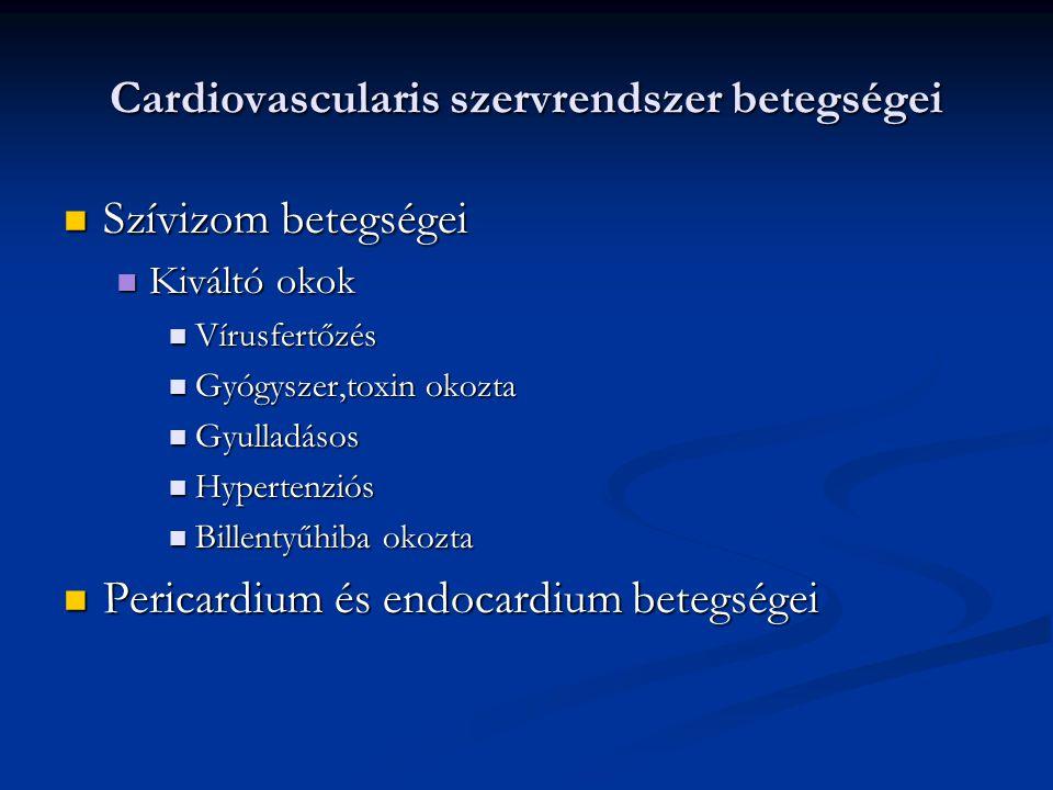 Cardiovascularis szervrendszer betegségei Koszorúérbetegség=coronaria betegség=ISZB= IHD Koszorúérbetegség=coronaria betegség=ISZB= IHD Rizikó faktorok Rizikó faktorok Falimiaris hajlam Falimiaris hajlam Életkor Életkor Férfi nem Férfi nem Zsíranyagcsere zavar Zsíranyagcsere zavar Magasvérnyomás Magasvérnyomás Cukorbetegség Cukorbetegség Mozgáshiány Mozgáshiány Stressz Stressz Két faktor esetén 4 (!), három faktor esetén 10(!)-szeresére nő az előfordulás valószínűsége Két faktor esetén 4 (!), három faktor esetén 10(!)-szeresére nő az előfordulás valószínűsége