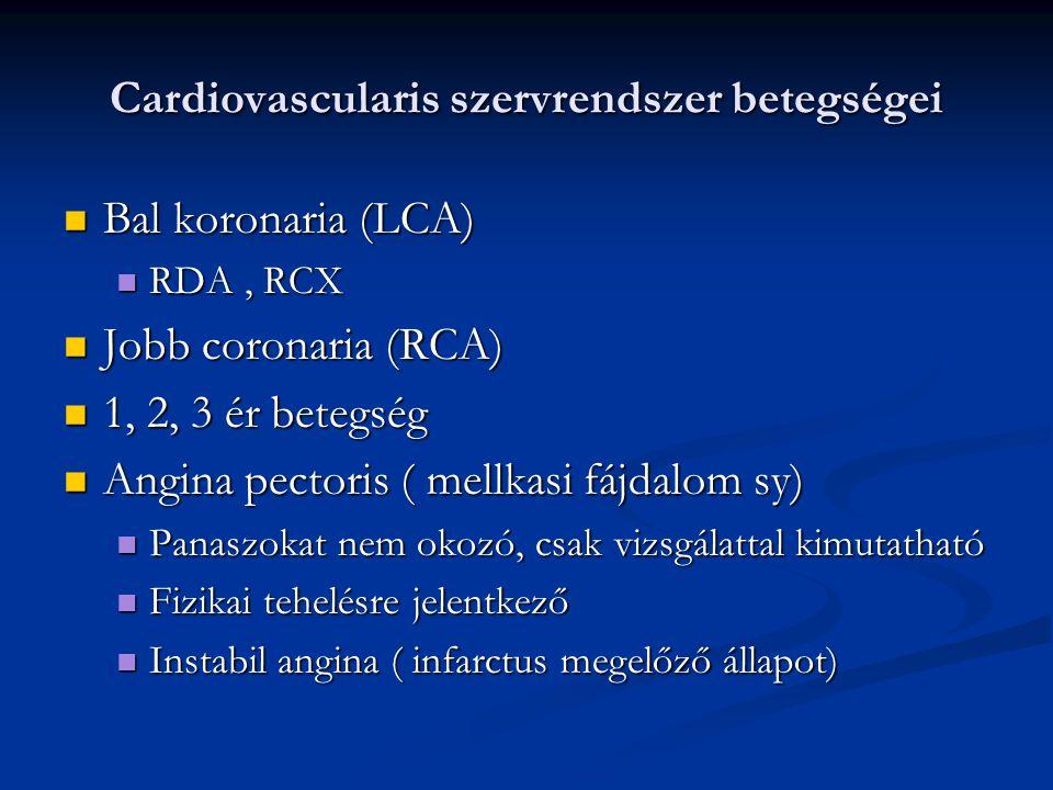 Cardiovascularis szervrendszer betegségei Diagnosztika Diagnosztika Anamnézis Anamnézis EKG EKG Nyugalmi, terheléses Nyugalmi, terheléses Terheléses UH Terheléses UH Ergometriával, gyógyszeresen: fali mozgászavar kimutatása Ergometriával, gyógyszeresen: fali mozgászavar kimutatása Szív izotóp vizsgálat Szív izotóp vizsgálat Coronarografia Coronarografia Labor diagnosztika Labor diagnosztika CKMB, troponin CKMB, troponin
