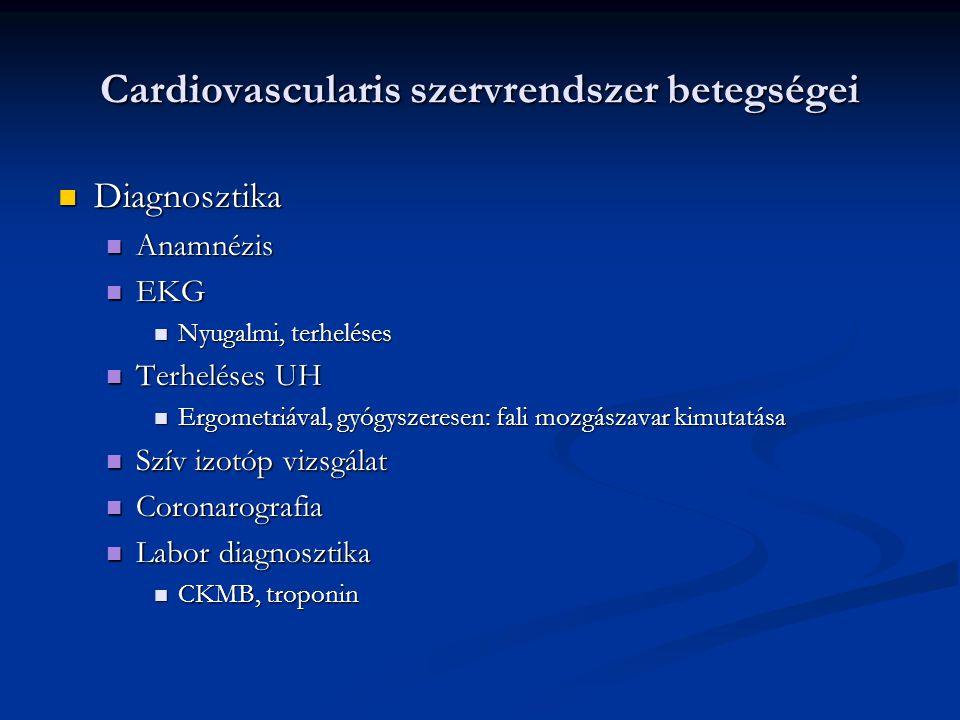 Cardiovascularis szervrendszer betegségei Diagnosztika Diagnosztika Anamnézis Anamnézis EKG EKG Nyugalmi, terheléses Nyugalmi, terheléses Terheléses U