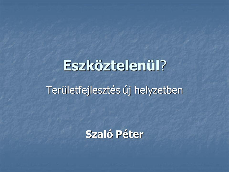 Eszköztelenül? Területfejlesztés új helyzetben Szaló Péter
