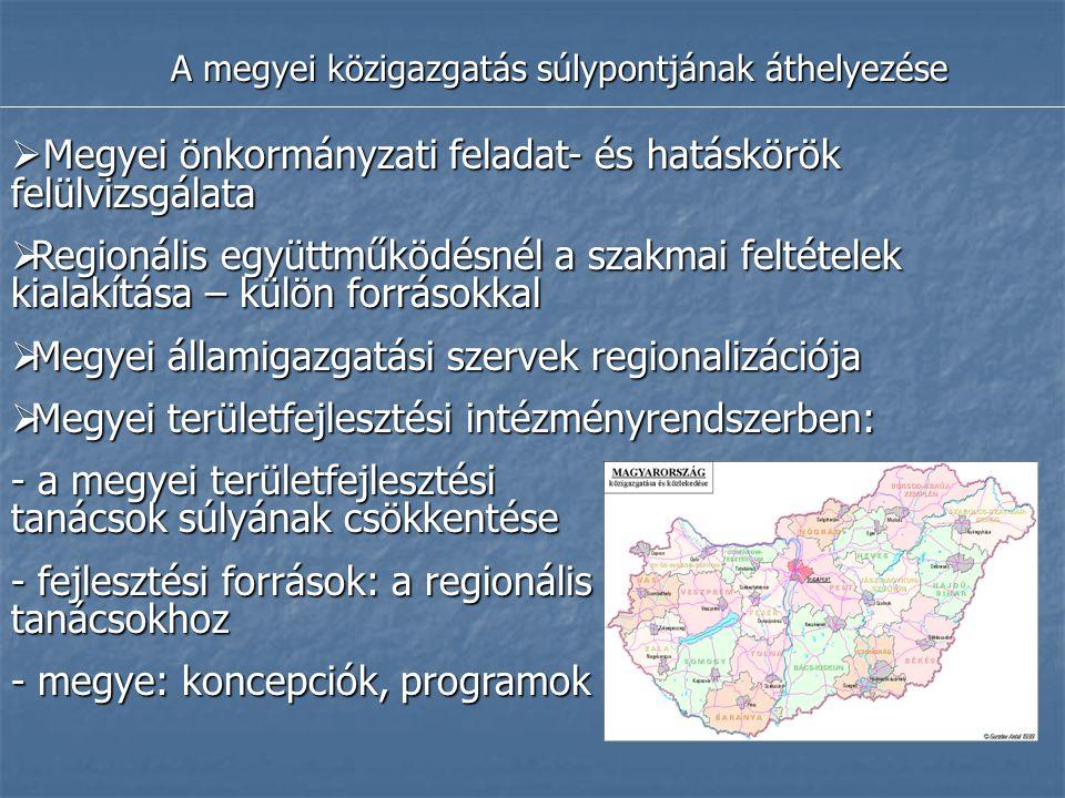 A megyei közigazgatás súlypontjának áthelyezése  Megyei önkormányzati feladat- és hatáskörök felülvizsgálata  Regionális együttműködésnél a szakmai