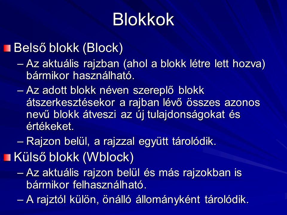 Blokkok Belső blokk (Block) –Az aktuális rajzban (ahol a blokk létre lett hozva) bármikor használható. –Az adott blokk néven szereplő blokk átszerkesz