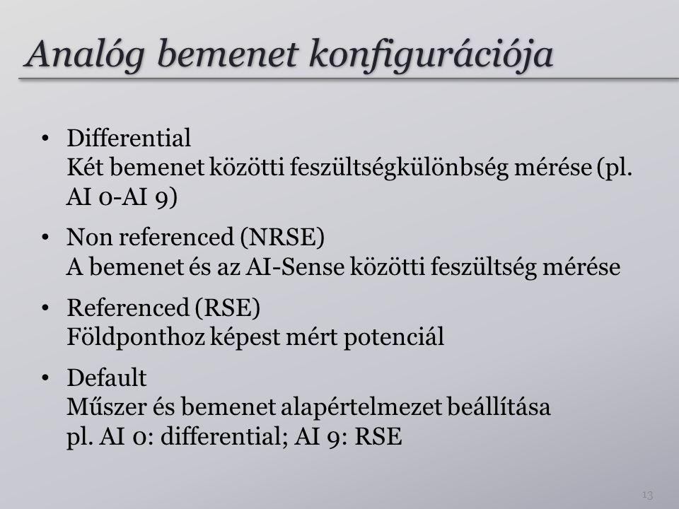 Analóg bemenet konfigurációja Differential Két bemenet közötti feszültségkülönbség mérése (pl. AI 0-AI 9) Non referenced (NRSE) A bemenet és az AI-Sen