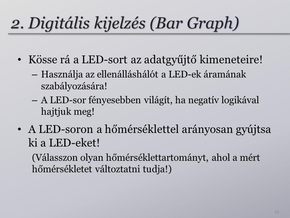 2. Digitális kijelzés (Bar Graph) Kösse rá a LED-sort az adatgyűjtő kimeneteire! – Használja az ellenálláshálót a LED-ek áramának szabályozására! – A