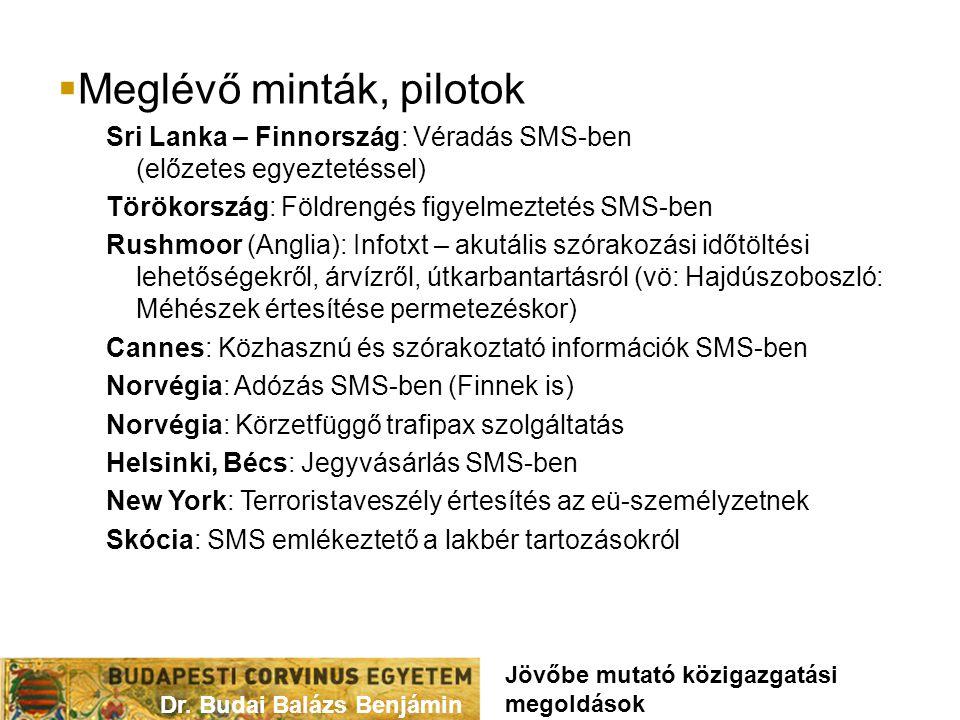  Meglévő minták, pilotok Sri Lanka – Finnország: Véradás SMS-ben (előzetes egyeztetéssel) Törökország: Földrengés figyelmeztetés SMS-ben Rushmoor (Anglia): Infotxt – akutális szórakozási időtöltési lehetőségekről, árvízről, útkarbantartásról (vö: Hajdúszoboszló: Méhészek értesítése permetezéskor) Cannes: Közhasznú és szórakoztató információk SMS-ben Norvégia: Adózás SMS-ben (Finnek is) Norvégia: Körzetfüggő trafipax szolgáltatás Helsinki, Bécs: Jegyvásárlás SMS-ben New York: Terroristaveszély értesítés az eü-személyzetnek Skócia: SMS emlékeztető a lakbér tartozásokról Dr.