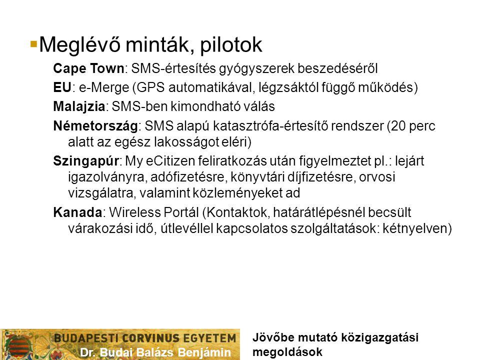  Meglévő minták, pilotok Cape Town: SMS-értesítés gyógyszerek beszedéséről EU: e-Merge (GPS automatikával, légzsáktól függő működés) Malajzia: SMS-ben kimondható válás Németország: SMS alapú katasztrófa-értesítő rendszer (20 perc alatt az egész lakosságot eléri) Szingapúr: My eCitizen feliratkozás után figyelmeztet pl.: lejárt igazolványra, adófizetésre, könyvtári díjfizetésre, orvosi vizsgálatra, valamint közleményeket ad Kanada: Wireless Portál (Kontaktok, határátlépésnél becsült várakozási idő, útlevéllel kapcsolatos szolgáltatások: kétnyelven) Dr.