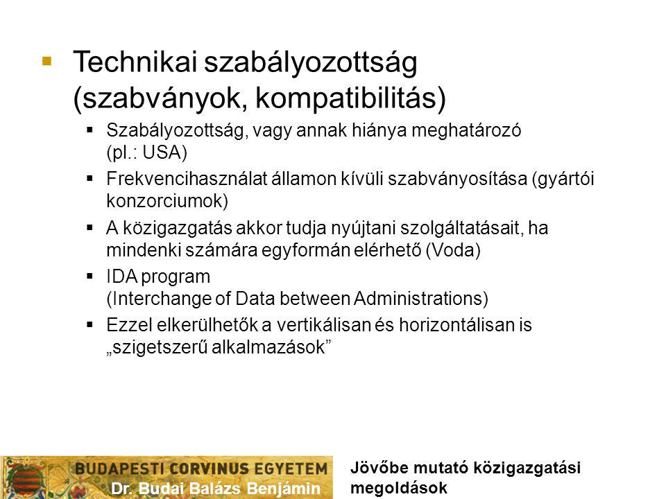 """ Technikai szabályozottság (szabványok, kompatibilitás)  Szabályozottság, vagy annak hiánya meghatározó (pl.: USA)  Frekvencihasználat államon kívüli szabványosítása (gyártói konzorciumok)  A közigazgatás akkor tudja nyújtani szolgáltatásait, ha mindenki számára egyformán elérhető (Voda)  IDA program (Interchange of Data between Administrations)  Ezzel elkerülhetők a vertikálisan és horizontálisan is """"szigetszerű alkalmazások Dr."""
