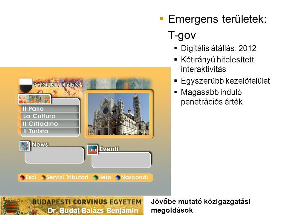  Emergens területek: T-gov  Digitális átállás: 2012  Kétirányú hitelesített interaktivitás  Egyszerűbb kezelőfelület  Magasabb induló penetrációs érték Dr.