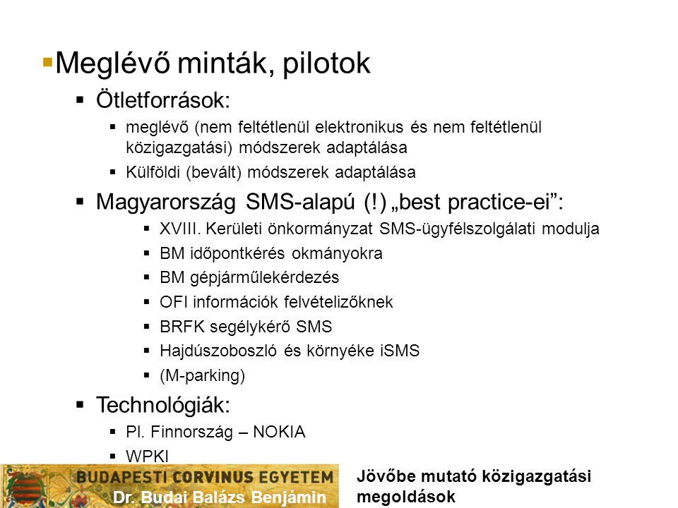 """ Meglévő minták, pilotok  Ötletforrások:  meglévő (nem feltétlenül elektronikus és nem feltétlenül közigazgatási) módszerek adaptálása  Külföldi (bevált) módszerek adaptálása  Magyarország SMS-alapú (!) """"best practice-ei :  XVIII."""