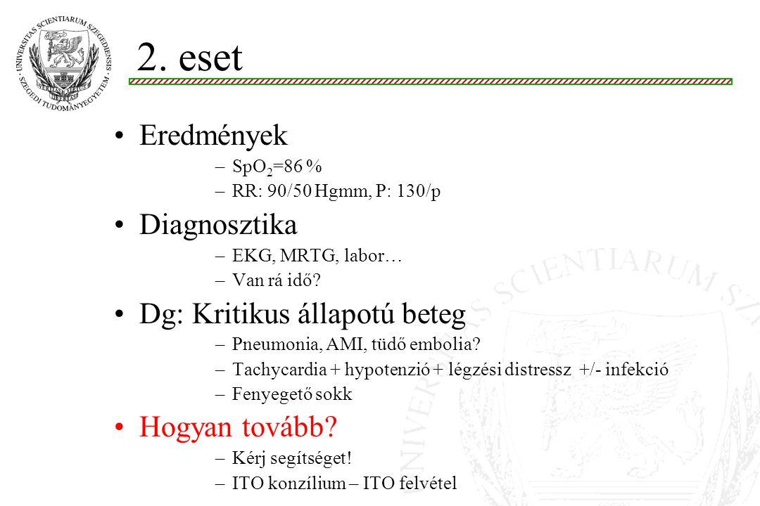 Eredmények –SpO 2 =86 % –RR: 90/50 Hgmm, P: 130/p Diagnosztika –EKG, MRTG, labor… –Van rá idő.
