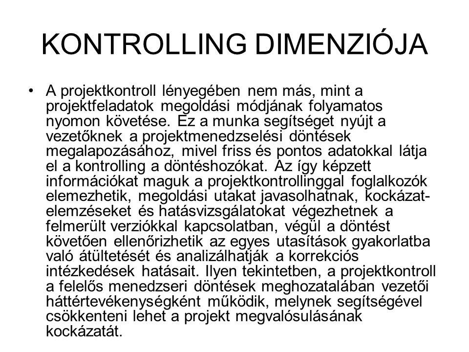 KONTROLLING DIMENZIÓJA A projektkontroll lényegében nem más, mint a projektfeladatok megoldási módjának folyamatos nyomon követése. Ez a munka segítsé