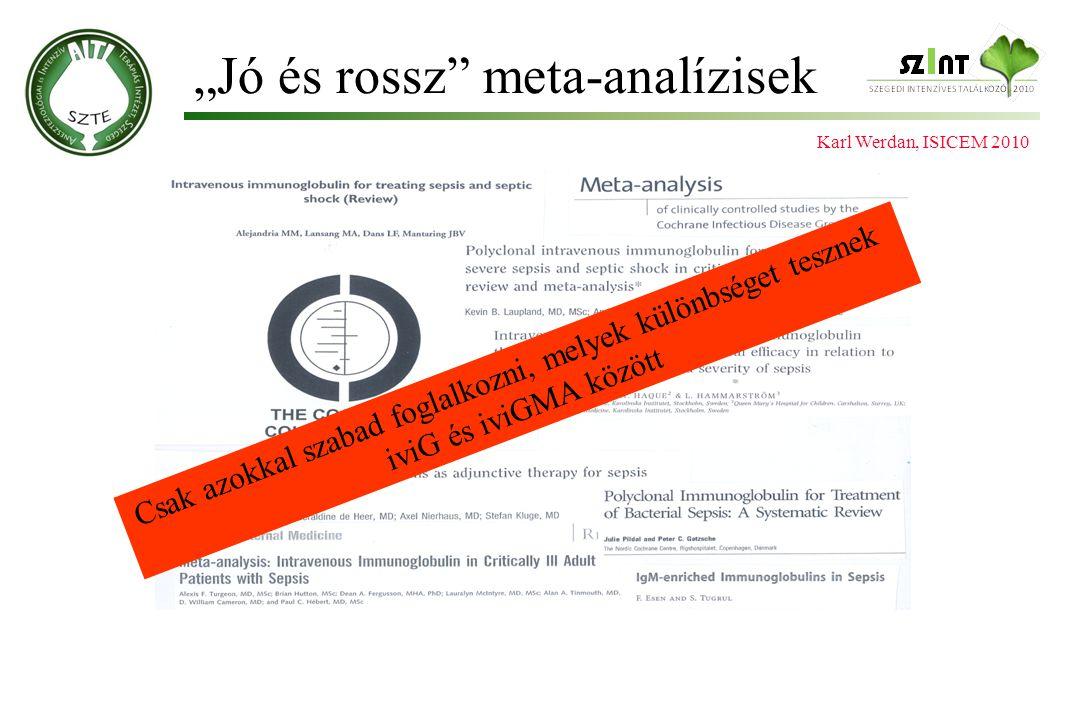 """""""Jó és rossz"""" meta-analízisek Karl Werdan, ISICEM 2010 Csak azokkal szabad foglalkozni, melyek különbséget tesznek iviG és iviGMA között"""
