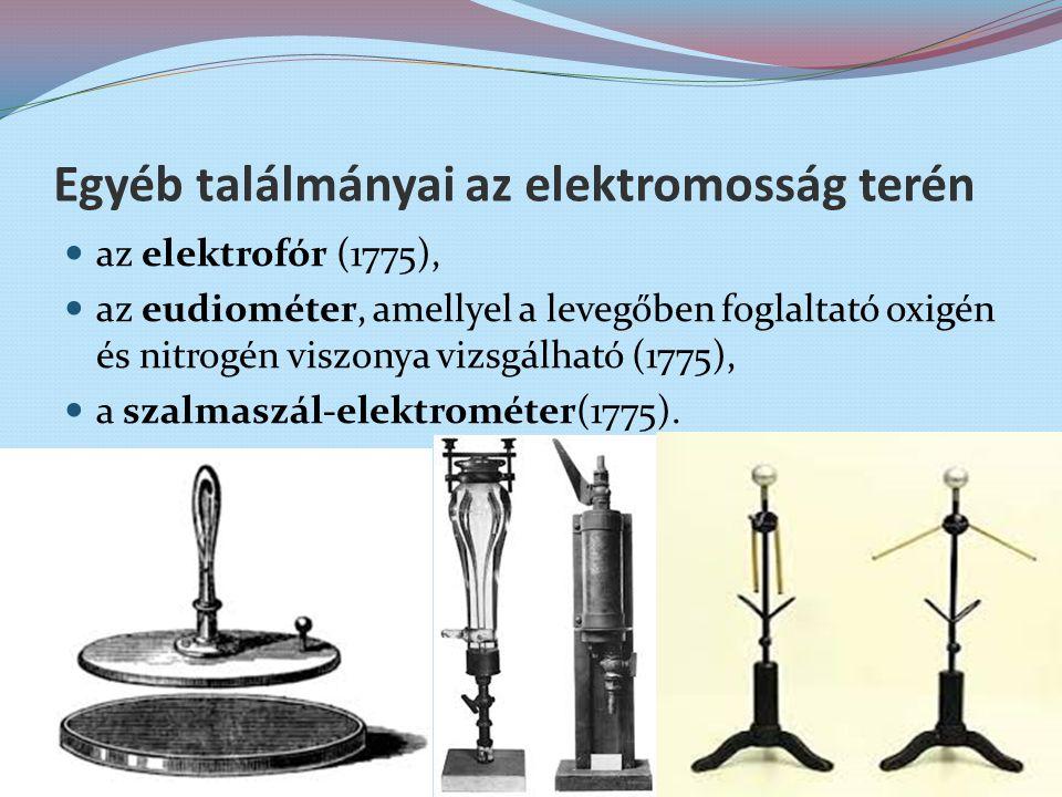Egyéb találmányai az elektromosság terén az elektrofór (1775), az eudiométer, amellyel a levegőben foglaltató oxigén és nitrogén viszonya vizsgálható