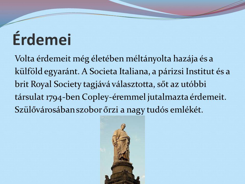 Érdemei Volta érdemeit még életében méltányolta hazája és a külföld egyaránt. A Societa Italiana, a párizsi Institut és a brit Royal Society tagjává v