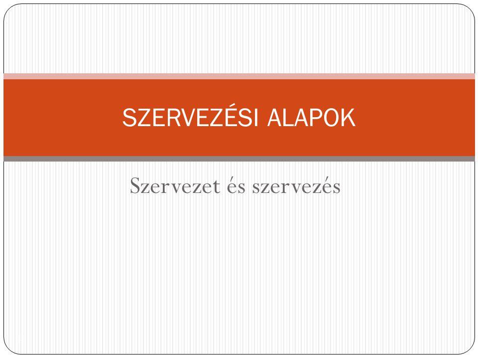 Szervezet és szervezés 1 SZERVEZÉSI ALAPOK