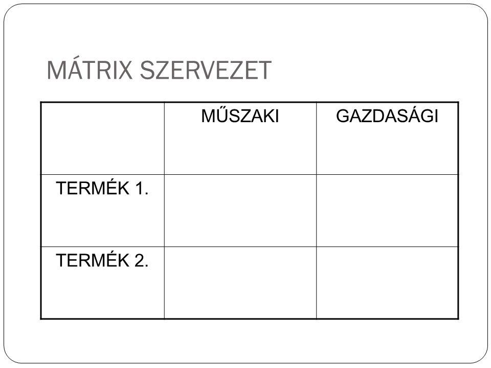 MÁTRIX SZERVEZET MŰSZAKIGAZDASÁGI TERMÉK 1. TERMÉK 2. 24