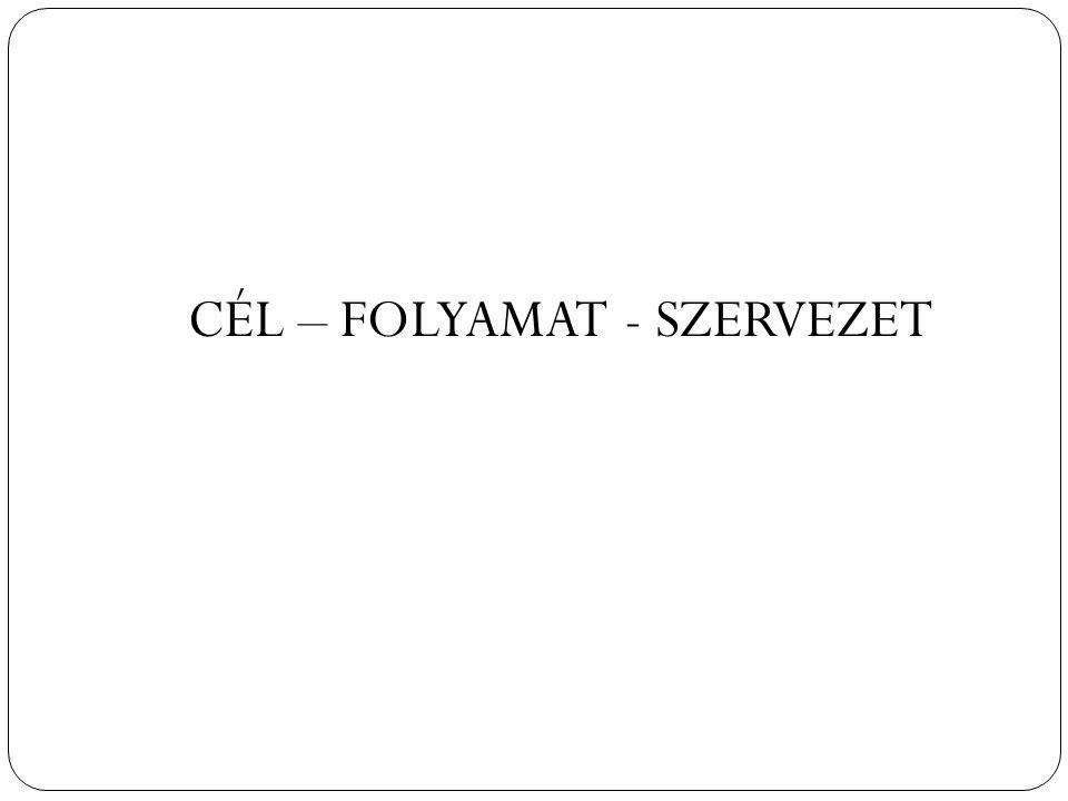 3 CÉL – FOLYAMAT - SZERVEZET