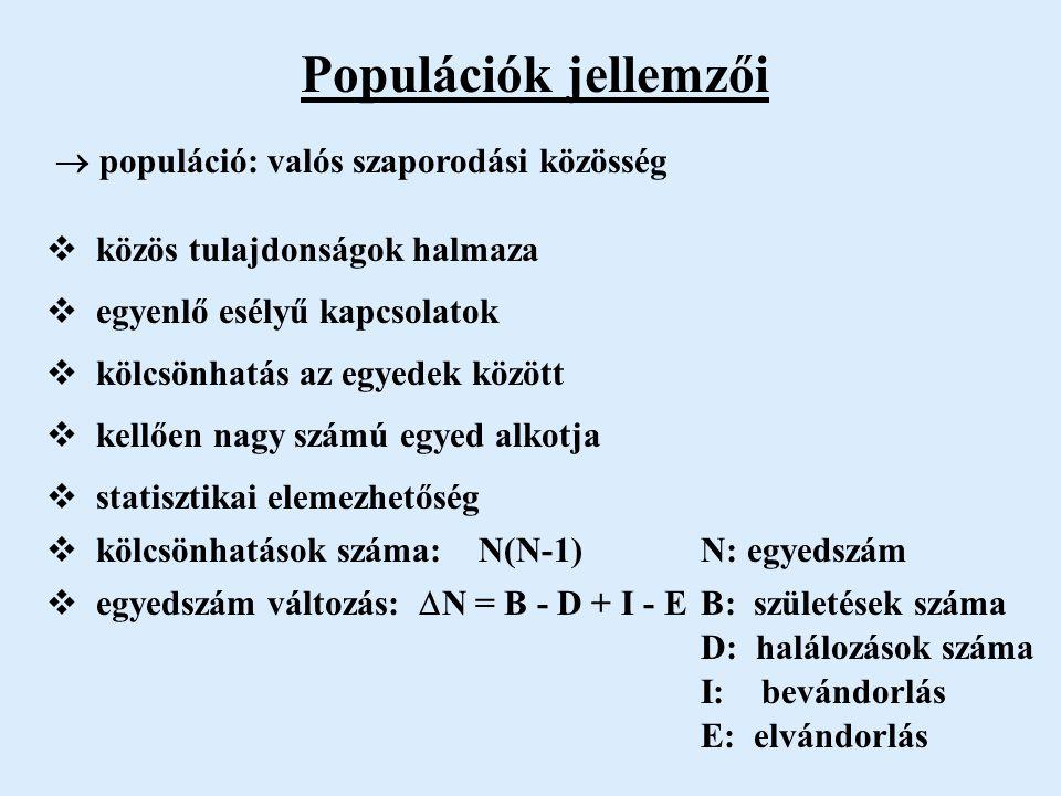 Populációk jellemzői  közös tulajdonságok halmaza  egyenlő esélyű kapcsolatok  kölcsönhatás az egyedek között  kellően nagy számú egyed alkotja  statisztikai elemezhetőség  kölcsönhatások száma: N(N-1) N: egyedszám  egyedszám változás:  N = B - D + I - E B: születések száma D: halálozások száma I: bevándorlás E: elvándorlás  populáció: valós szaporodási közösség