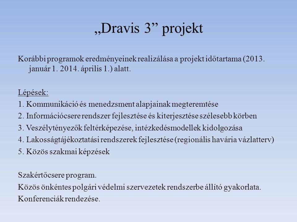 """""""Dravis 3"""" projekt Korábbi programok eredményeinek realizálása a projekt időtartama (2013. január 1. 2014. április 1.) alatt. Lépések: 1. Kommunikáció"""