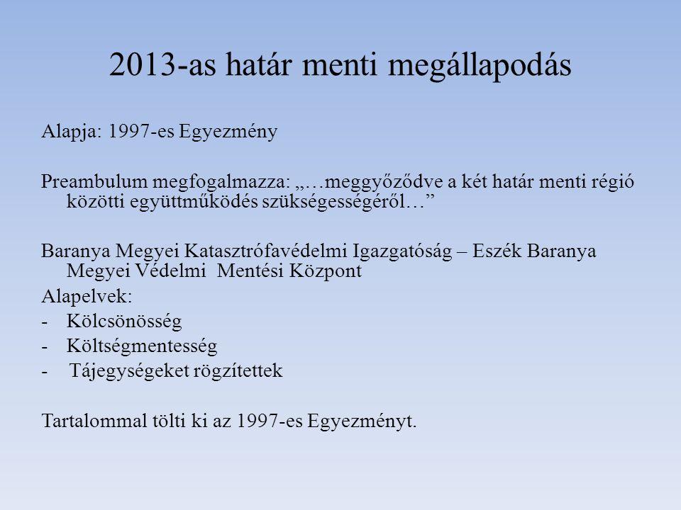 """2013-as határ menti megállapodás Alapja: 1997-es Egyezmény Preambulum megfogalmazza: """"…meggyőződve a két határ menti régió közötti együttműködés szüks"""