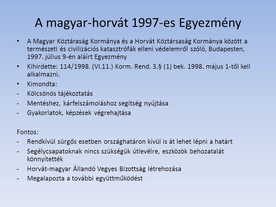 A magyar-horvát 1997-es Egyezmény A Magyar Köztáraság Kormánya és a Horvát Köztársaság Kormánya között a természeti és civilizációs katasztrófák ellen