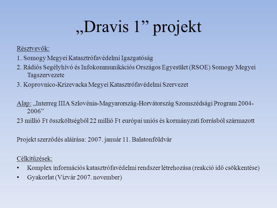 """""""Dravis 1"""" projekt Résztvevők: 1. Somogy Megyei Katasztrófavédelmi Igazgatóság 2. Rádiós Segélyhívó és Infokommunikációs Országos Egyesület (RSOE) Som"""